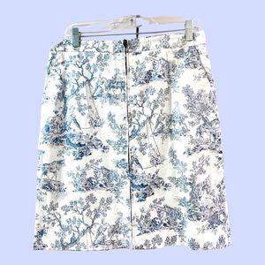 Vintage August Silk Logic toile blue / white skirt